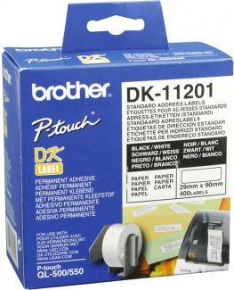 Наклейки адресные Brother DK11201,29 x 90 мм, 400шт