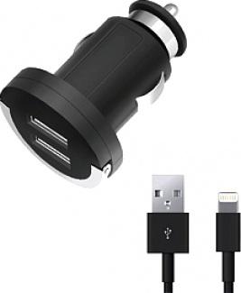 Автомобильное зарядное устройство Deppa Ultra 11257, MFI для Apple с разъемом Lightning (8-pin), 2xUSB, 3.4А, Черный