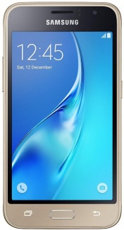 Смартфон Samsung Galaxy J1 SM-J120F 4,5(480x800) LTE Cam(5.0/2.0) Exynos 3475 1.3ГГц(4) (1/8)Гб microSD 128Гб A5.1 A-GPS 2050мАч Зол. SM-J120FZDDSER