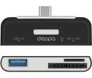 OTG адаптер Deppa, USB 3.0 , картридер: SD, microSD OTG кабель 73117, Черный