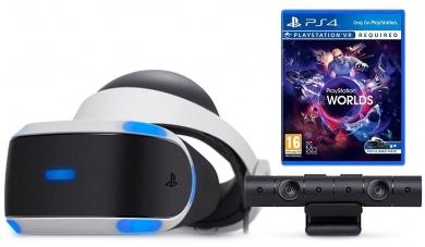 Sony PlayStation VR (приставка в комплект не входит) игра VR Worlds + PlayStation 4 Камера v2 + VR шлем, Черный/Белый CUH-ZVR2