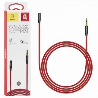Кабель удлинитель Baseus M31, Mini jack (m) /Mini jack ( f) (3.5мм), 1.5м, Красный  CAM31-91