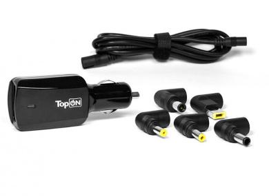 Универсальное автомобильное зарядное устройство TopON 90W для ноутбуков, с USB-портом на 2.1A U90WCC