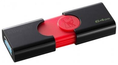 Флешка Kingston 64Gb DataTraveler 106 DT106/64GB, USB3.0, Черный/Красный