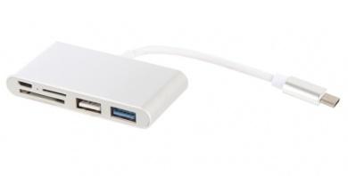 Переходник Red Line Multiport adapter 5 in 1 Lite USB Type-C  (USB Type-C in, 1xUSB 3.0, 1xUSB2.0, SD, microSD, micro USB), Серебристый УТ000015894