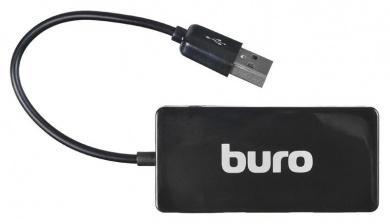 USB-хаб Buro USB 2.0 на 4xUSB 2.0, 4 порта, BU-HUB4-U2.0-Slim Черный
