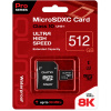Карта памяти Qumo microSDXC 512GB Pro series microSDXC Class 10 UHS-I, U3 + SD адаптер, Черный QM512GMICSDXC10U3