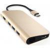 Док-станция Satechi Aluminum Type-C Multi-Port Adapter 4K with Ethernet (3xUSB 3.0, USB Type-C, RJ-45, HDMI, SD, micro-SD), Золотистый ST-TCMAG